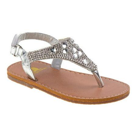 Infant Girls' Rugged Bear RB32117N Jeweled Thong (Jeweled Satin Sandals)
