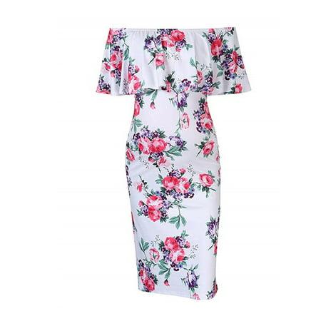 One Shoulder Maternity Dress (Women Floral Ruffle Maternity Pregnant Off Shoulder Bodycon Stretch Pencil Short Dress )