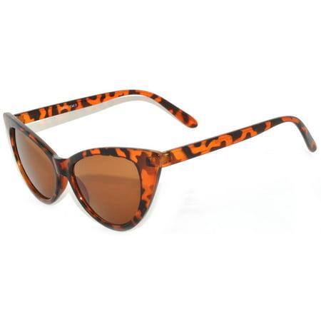 Retro Women's Cat Eye Vintage Sunglasses UV Protection Leopard Frame Brown Lens Brand (Leopard Sunglasses)