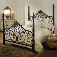 Kingfisher Lane Queen Metal Poster Bed in Black Gold