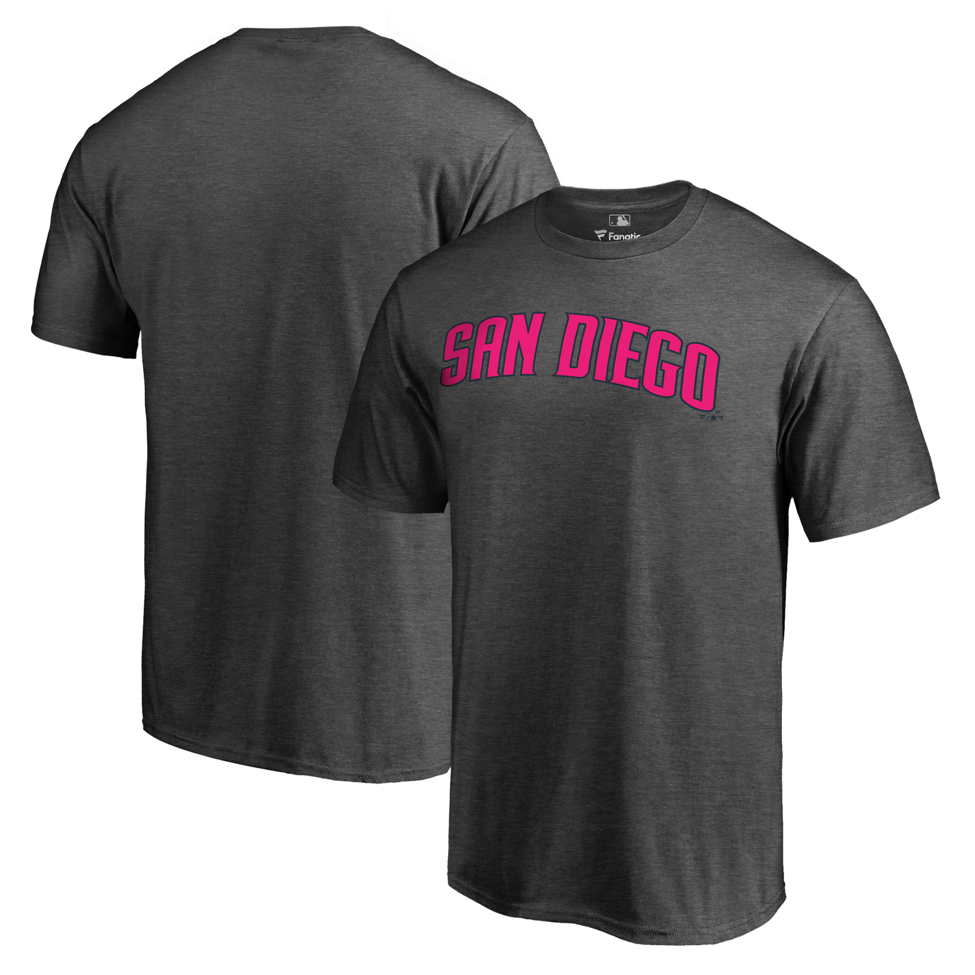San Diego Padres Fanatics Branded 2019 Mother's Day Pink Wordmark T-Shirt - Heather Gray