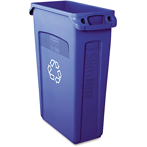 Rubbermaid Commercial Slim Jim Blue Plastic Recycling Container With Venting Channels, 23 gal