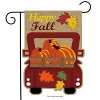 "Happy Fall Pickup Burlap Garden Flag Pumpkins 12.5"" x 18"" Briarwood Lane"