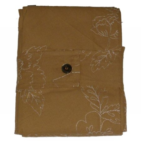 60x84 Fabric Tablecloth - Golden Tan Embroidered Leaves Tablecloth Fabric Table Cloth 60x84 Obl