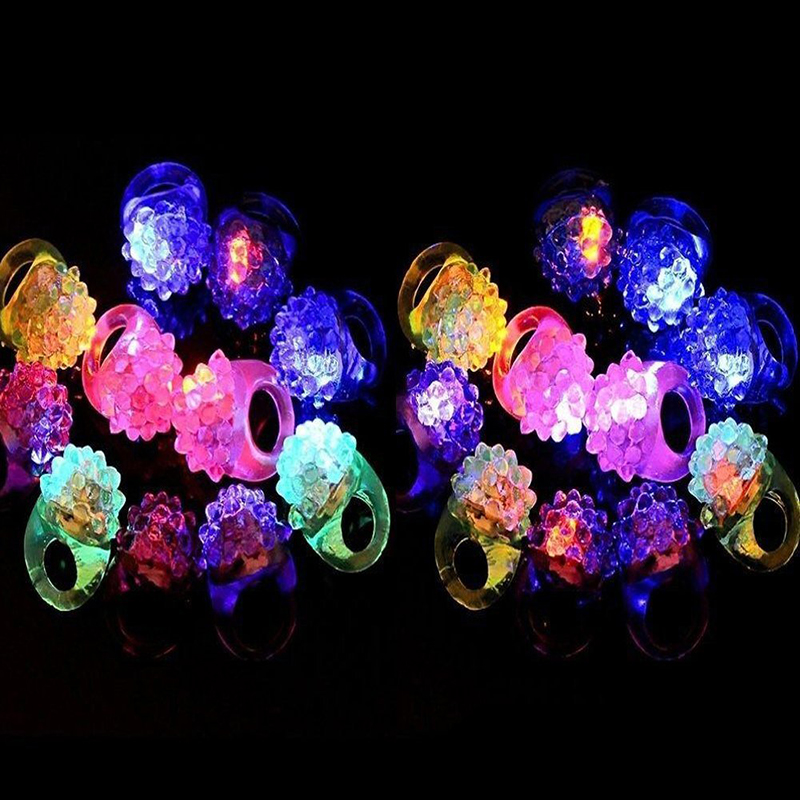 Concert Shows Event Favors Raves 6-Pack The Dreidel Company Flashing Colorful LED Light Up Bumpy Jelly Rubber Rings Finger Toys for Parties