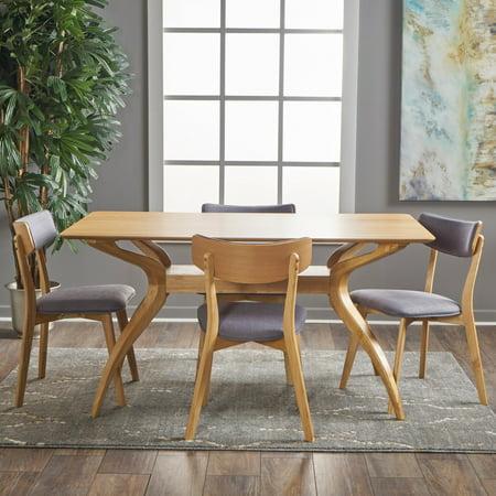 Noble House Banbury Mid Century Modern Wood 5 Piece Dining Set, Natural Oak, Dark Grey - Walmart.com