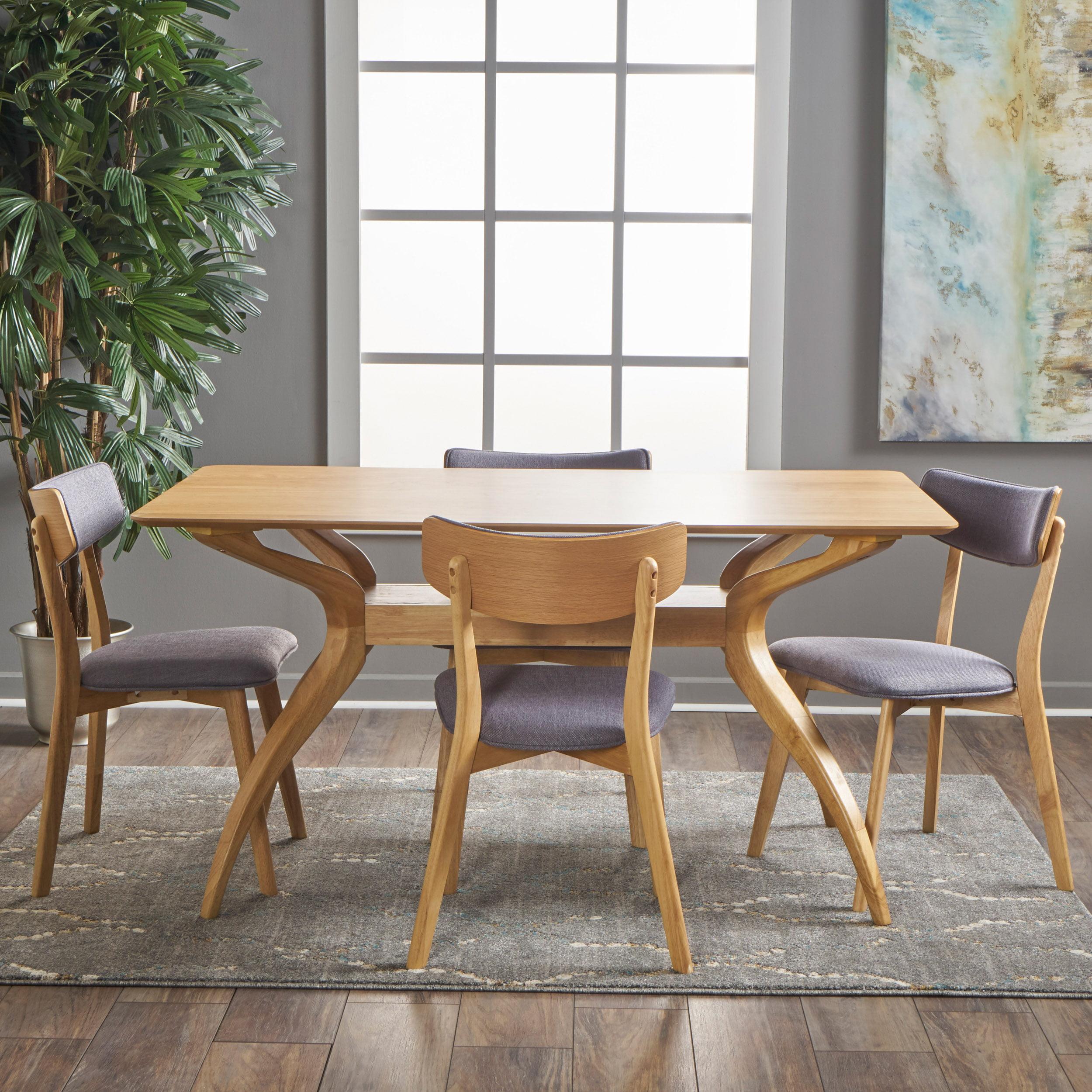 Noble House Banbury Mid Century Modern Wood 5 Piece Dining Set, Natural Oak, Dark Grey