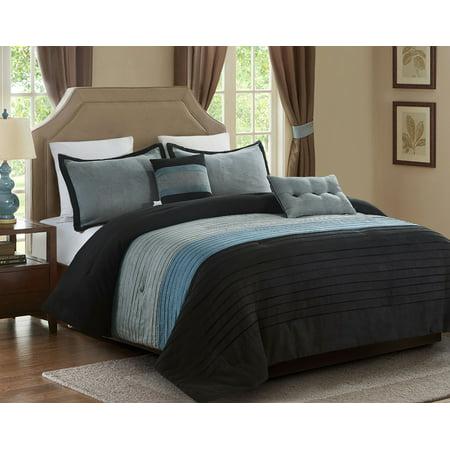 King Series Suede Saddle (5 piece Micro Suede Comforter set, King, Black/Grey )