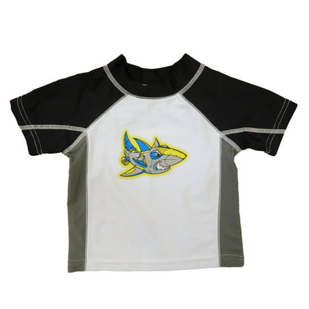Infant toddler boys robot shark rash guard swim shirt for Baby rash guard shirt