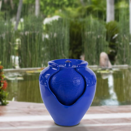 - Jar Water Fountain – Indoor or Outdoor Water Feature with Electric Pump and LED Lights by Pure Garden (Cobalt Blue)