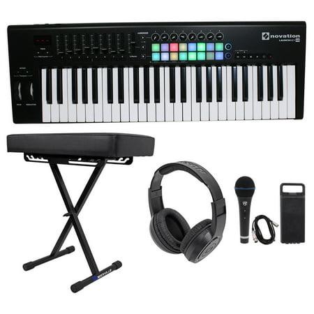 novation launchkey 49 mk2 49 key keyboard controller bench headphones mic cable. Black Bedroom Furniture Sets. Home Design Ideas