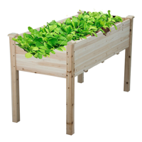 Topeakmart Solid Wood Raised Garden Bed Rectangle Elevated Planter Grow Plants Natural Wood