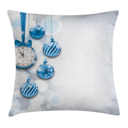 Clock Decor Throw Pillow Cushion Cover, New Year Theme A Clock and Glass Balls Illustration Christmas Decoration Pattern, Decorative Square Accent Pillow Case, 18 X 18 Inches, Blue, by Ambesonne (Cubicle Decoration Christmas Theme)