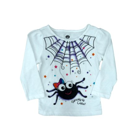 Happy Halloween Infant Girls White Spooky & Cute! T-shirt Spider Tee Shirt 12m - Games Baby Hazel Happy Halloween