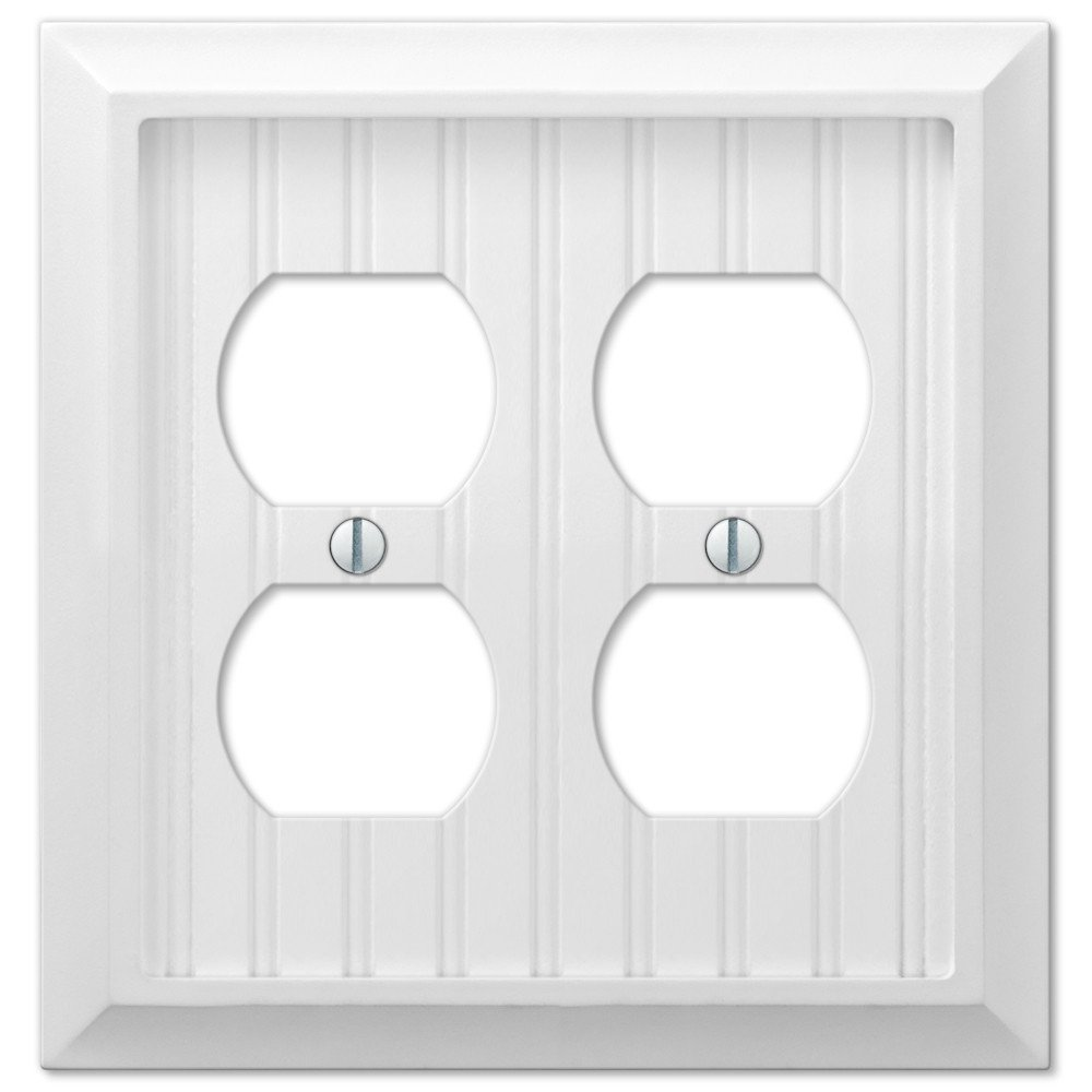 Cottage White Wood Double Duplex Outlet Wall Switch Plate Cover