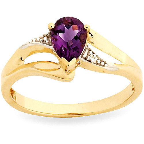 Simply Gold Gemstone 7x5mm Pear-Shaped Amethyst and Diamond Accents 10kt Yellow Gold Ring, Size 7 by