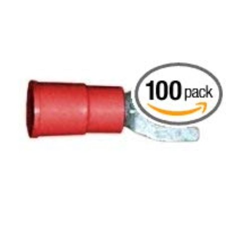 Scotchlok Vinyl Insulated Brazed Seam #8 Size Fork Terminal l 22-18 Gauge (Red) - 100 Pieces, Forked spade type terminals for screw down connections By 3M
