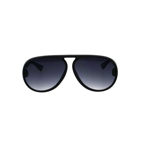 Mens Retro Racer Plastic Top Bridge Minimal Sunglasses Black Smoke
