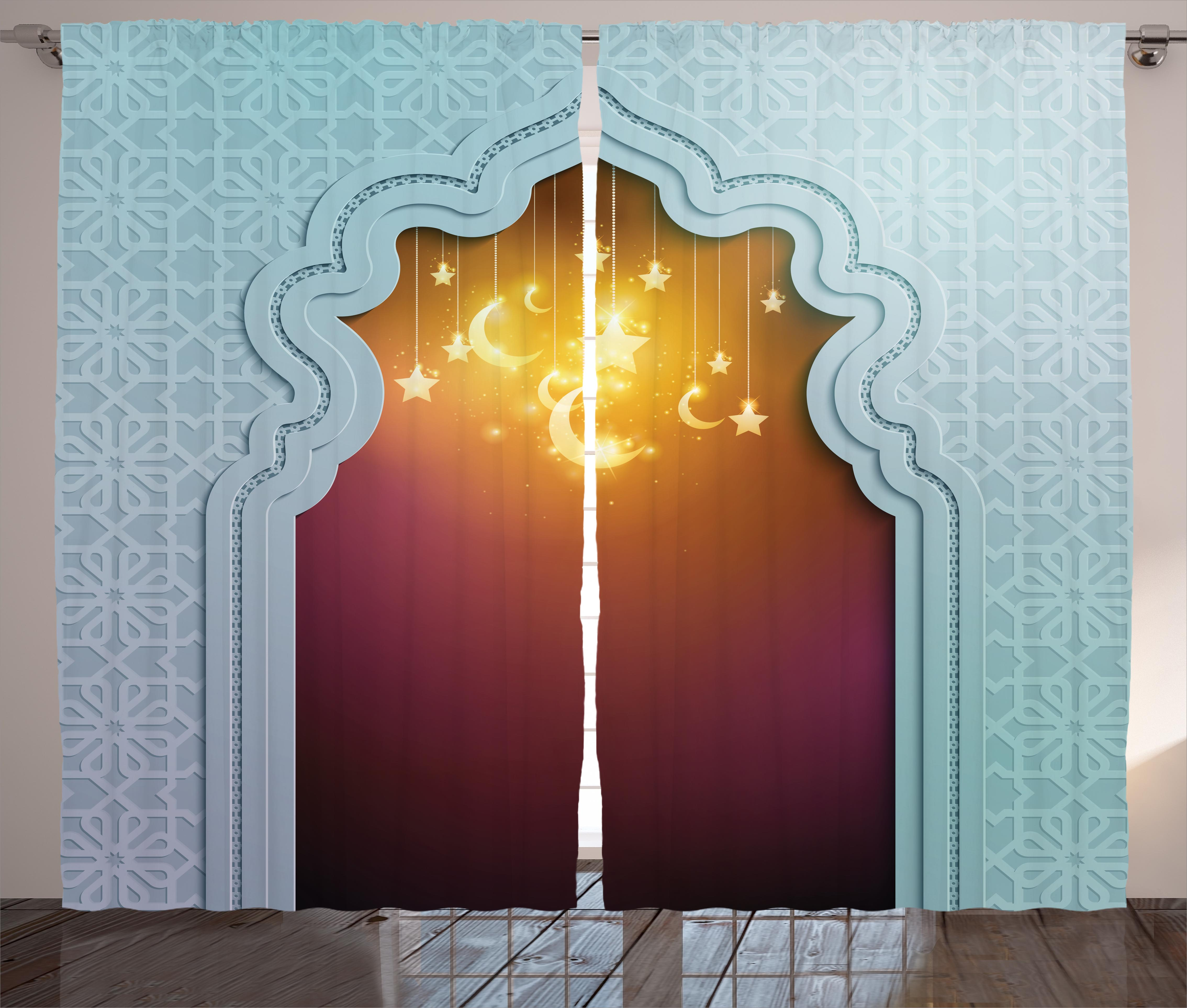 Moroccan Curtains 2 Panels Set, Mosque Door with Shiny Star and Moon Ornaments... by Kozmos
