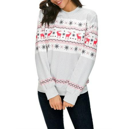 Christmas Women Hoodie Sweatshirt Sweater Polka Dot Snowflake Deer  Xmas Print Long Sleeve Pullover Jumper