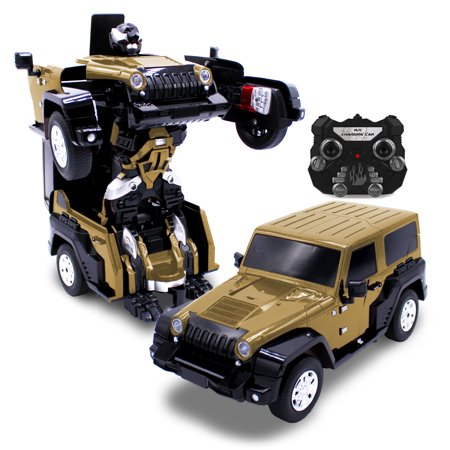 Kids Rc Toy Car Transforming Robot Toro Gold One Button
