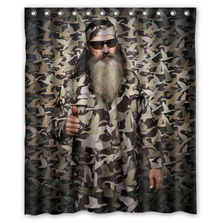DEYOU Duck Dynasty Willie Robertson Camouflage Shower Curtain Polyester Fabric Bathroom Shower Curtain Size 60x72 inches
