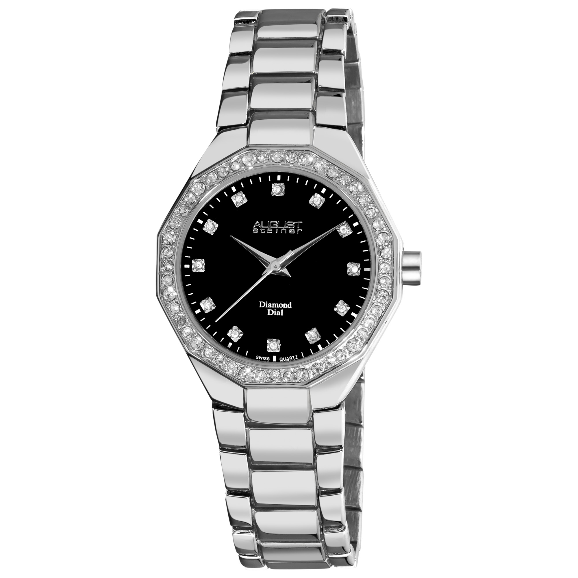 August Steiner Women's Diamond Swiss Quartz Silver-Tone Bracelet Watch
