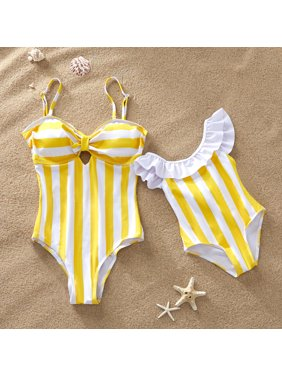 PatPat Yellow and Blue are Available Matching Swimsuits Girl Boy Women Men Swimwear
