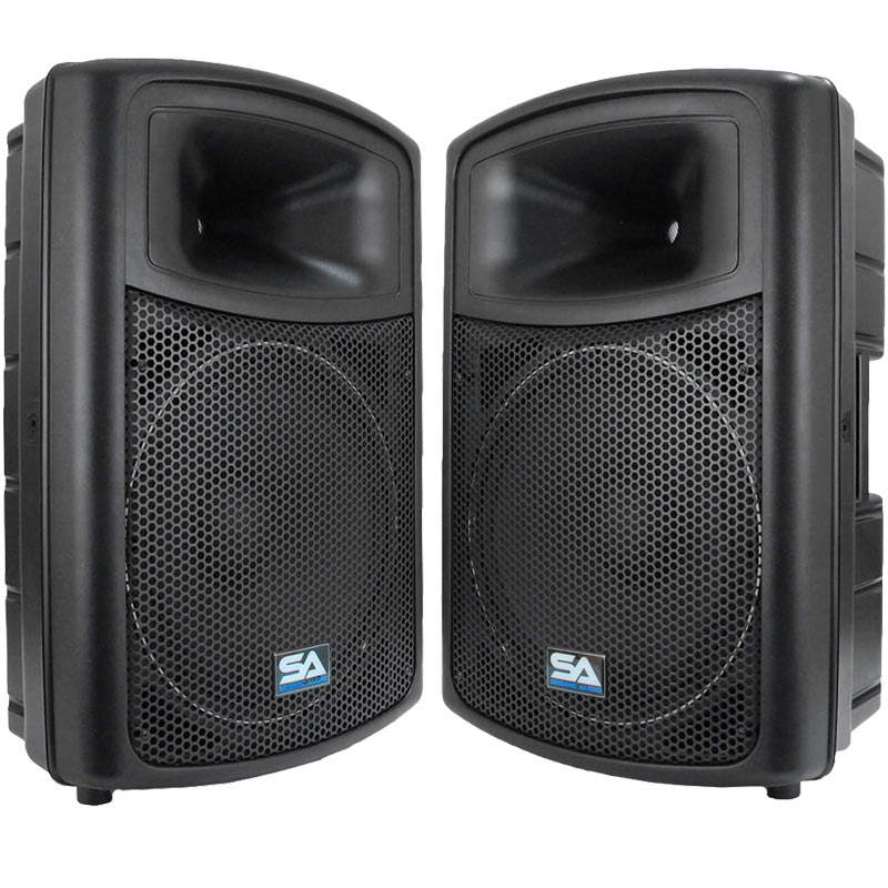"Seismic Audio 2 POWERED 15""  PA SPEAKERS Active DJ Band - PWS-15Pair"