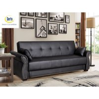 Serta Manchester Sofa Bed with Storage in Faux Leather, Black