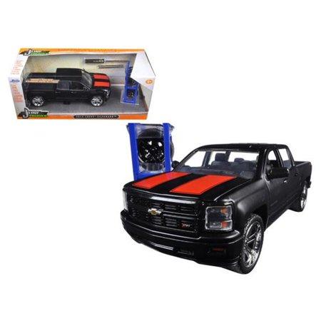 2014 Chevrolet Silverado Pickup Truck Matt Black 'Just Trucks' with Extra Wheels 1/24 by Jada (1993 Chevrolet S10 Truck)