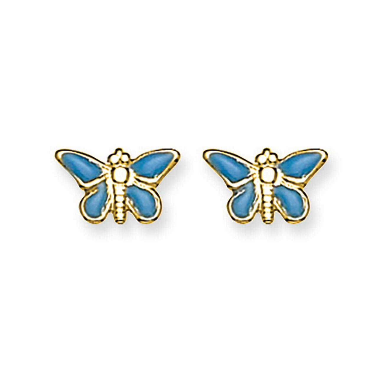 14K Yellow Gold Childrens Inverness 6 MM Epoxy Fill Blue Butterfly Stud Earrings