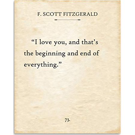 Beginnings Gift - F. Scott Fitzgerald - I Love You And That's The Beginning - Book Page Quote Art Print - 11x14 Unframed Typography Book Page Print - Great Gift for Book Lovers