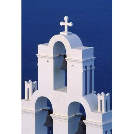 Coastal Bell Towers Santorini Greece Poster Print By Keren Su