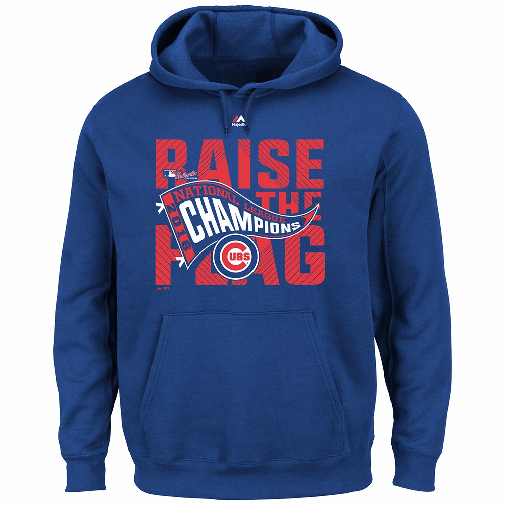 "Chicago Cubs MLB Majestic Men's Blue Chicago Cubs MLB Men's Blue ""Raise The Flag"" Hoodie"