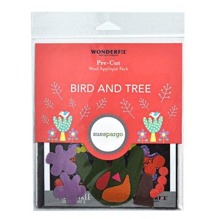 Sue Spargo Pre-Cut Wool Applique Pack - Bird & Tree Colorway 2