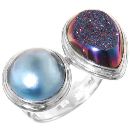 Sterling Silver Metallic Acrylic (Size 8 Blue Mabe Cultured Pearl Titanium Druzy 925 Sterling Silver)