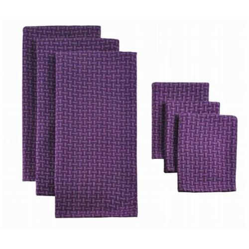 Design Imports Cos31268 Eggplant Heavyweight Dishtowel - Set Of 3 & Dishcloth - Set Of 2