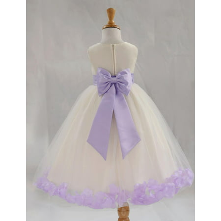 Ekidsbridal Satin Ivory Lilac Tulle Petal Christmas Junior Bridesmaid Recital Easter Holiday Wedding Pageant Communion Princess Birthday Girl Clothing Baptism 302T size 4 Flower Girl Dress