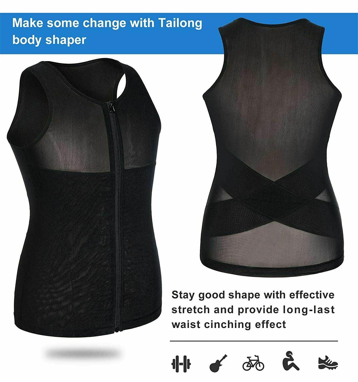 TAILONG Men Shirt Vest Slimming Underwear Body Shaper Tight Tank Top Waist Trainer Tummy Control Girdle