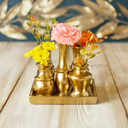 Vases Ceramic Vase Cluster On Tray Set Square Bud Vase Centerpiece