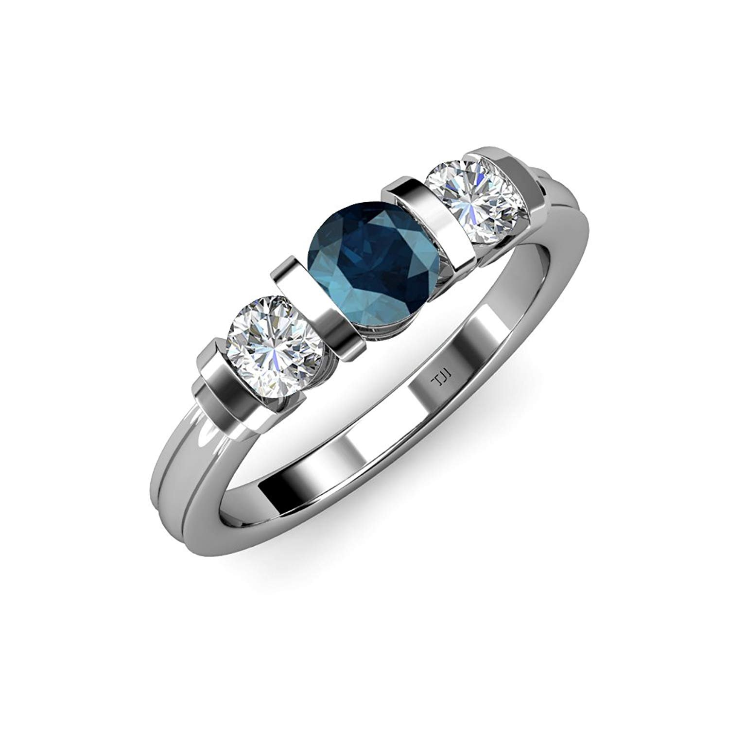 Blue and White Diamond (SI2-I1, G-H) Bar Set Three Stone Ring 1.10 ct tw in 14K White Gold.size 9.0 by TriJewels