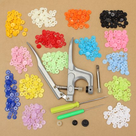 150pcs Snap Fastener Pliers Tool Kit KAM T5 Buttons Plastic Resin Press Stud Fastener with Snap Pliers Buckle Clasp Clamp Srcew Driver Kit For DIY Cloth Diaper Fabric