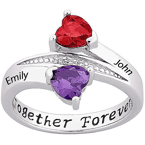 Personalized Sterling Silver Couple's Birthstone Heart Name Ring with Diamond Accent