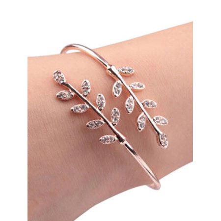 MAXSUN Adjustable Open Cuff Leaf Bangles Jewelry Hand Accessories For Women - Accessories : Bracelets And Cuffs