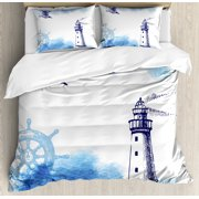 Farm House Decor Queen Size Duvet Cover Set, Nostalgic Watercolors with Gull Ancient Anchor Lighthou