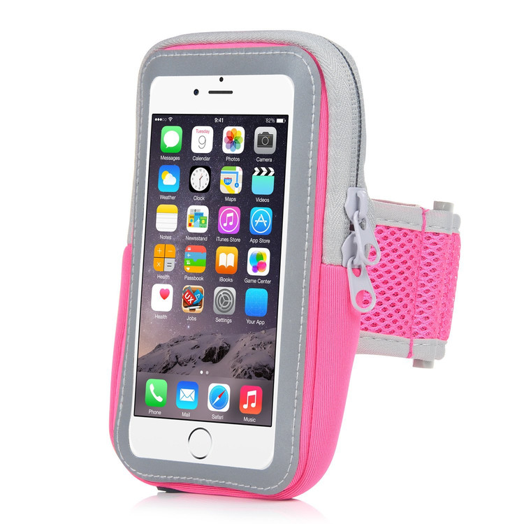 iPhone Armband,Bangde Sports Armband Sweatproof Running Armbag Gym Fitness Cell Phone Case with Key Holder Wallet Card Slot for iPhone 7 Plus 6 Plus 6s Plus Samsung Galaxy S5 S6 S7 Edge (Pink)
