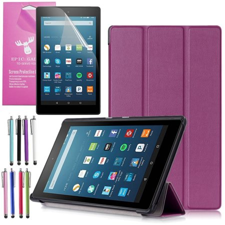 Amazon Fire Hd 8 Case  2017 7Th Gen   Epicgadget Tm  Smart Cover Auto Sleep   Wake Premium Leather Folding Folio Case For Fire Hd 8  8  Hd Display Tablet   Fire Hd 8 Screen Protector  Purple