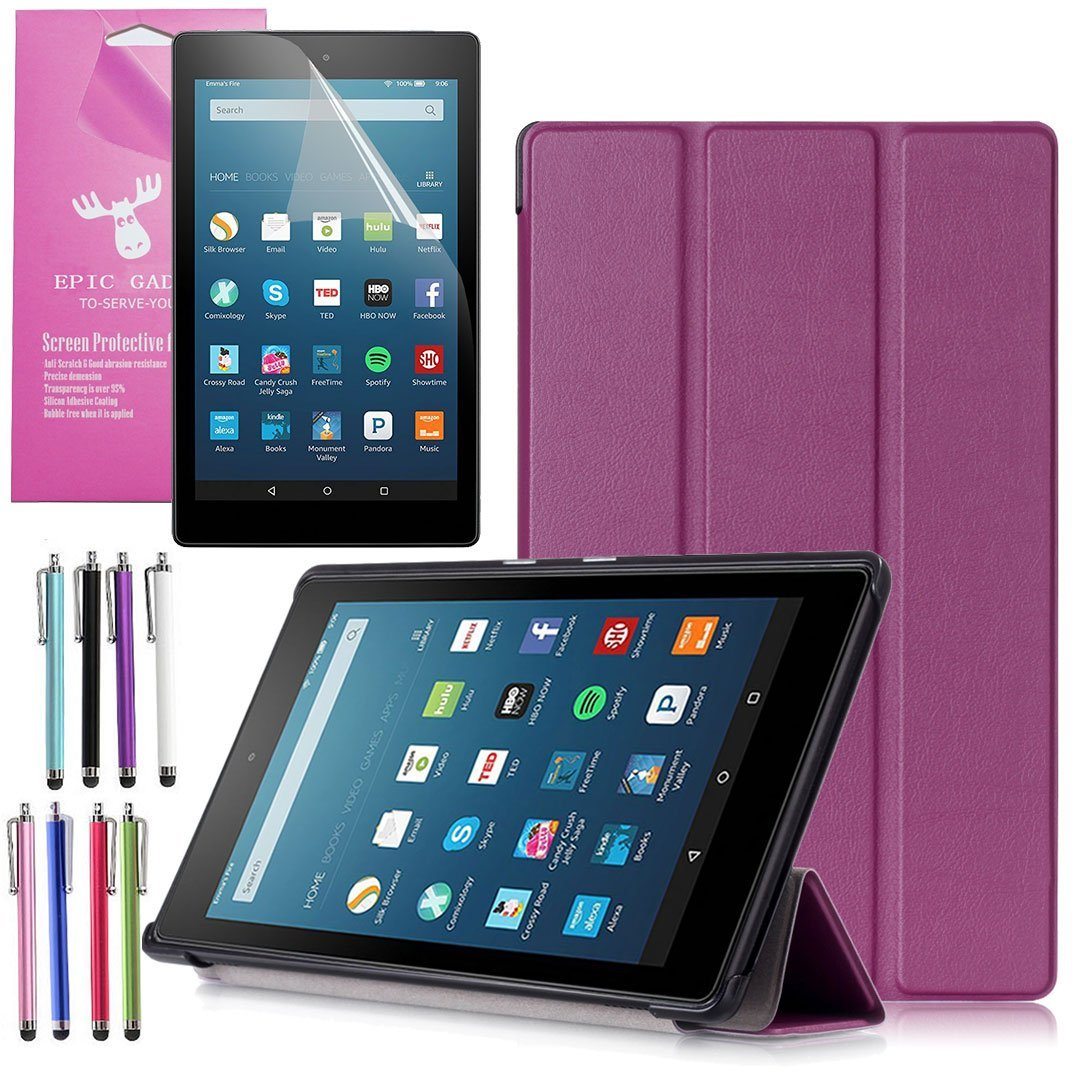 "Amazon Fire HD 8 Case (2017 7th Gen), EpicGadget(TM) Smart Cover Auto Sleep / Wake Premium Leather Folding Folio Case For Fire HD 8, 8"" HD Display Tablet + Fire HD 8 Screen Protector (Purple)"