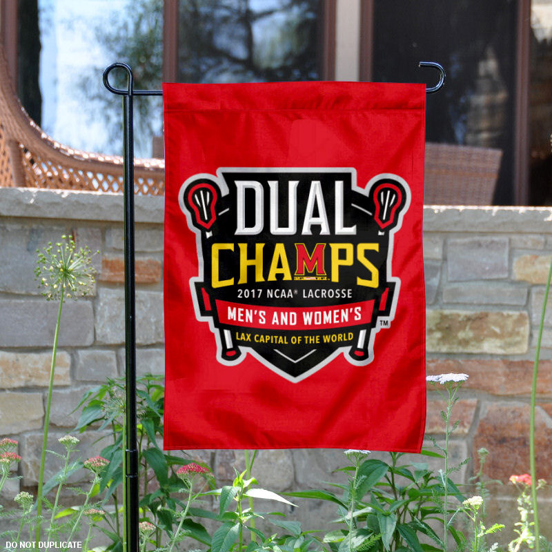 """Maryland Terrapins 2017 Men's and Women's Lacrosse National Champions 13"""" x 18"""" College Garden Flag SW-GardenSW-MDT-Dual LAX 17"""